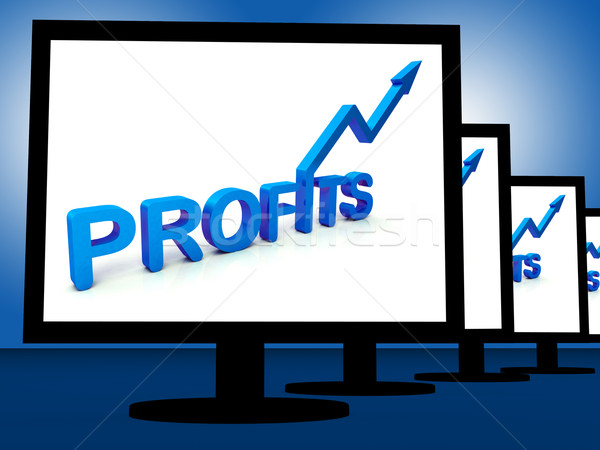Profits On Monitors Showing Profitable Incomes Stock photo © stuartmiles