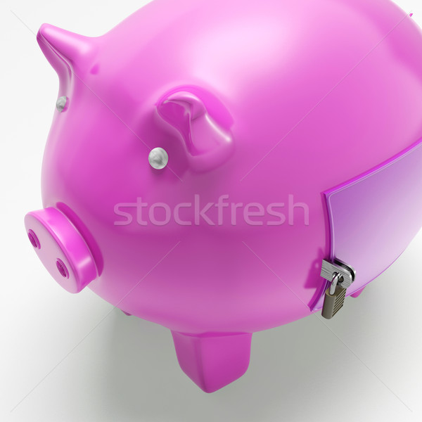 Piggybank With Closed Door Shows Secured Money Stock photo © stuartmiles