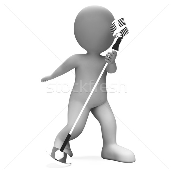 Singer Performer Shows Musical Song Or Karaoke Microphone Concer Stock photo © stuartmiles