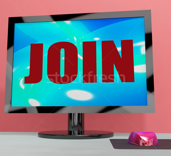 Join On Monitor Shows Registration Membership Or Volunteer Stock photo © stuartmiles