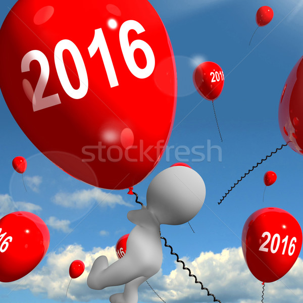 Iki bin on altı balonlar yıl 2016 Stok fotoğraf © stuartmiles