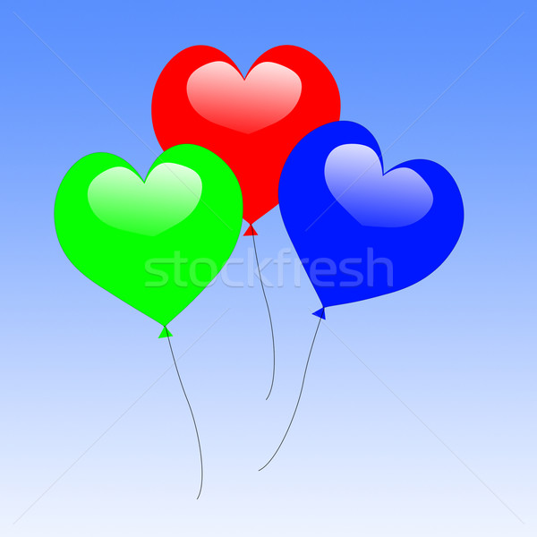Colourful Heart Balloons Show Wedding Feast Or Engagement Party Stock photo © stuartmiles
