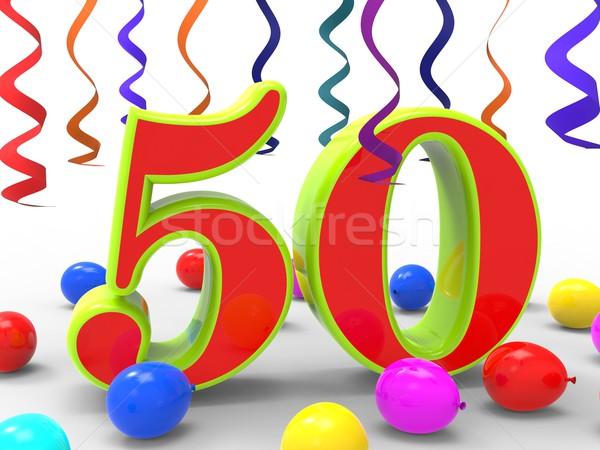 числа пятьдесят вечеринка счастье сторон Сток-фото © stuartmiles