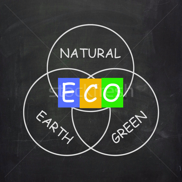ECO On Blackboard Shows Environmental Care Or Eco-Friendly Natur Stock photo © stuartmiles
