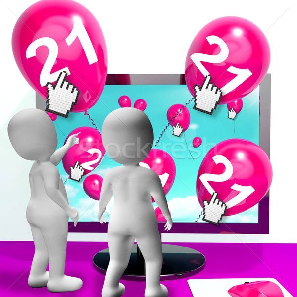 Number 21 Balloons from Monitor Show Internet Invitation or Cele Stock photo © stuartmiles