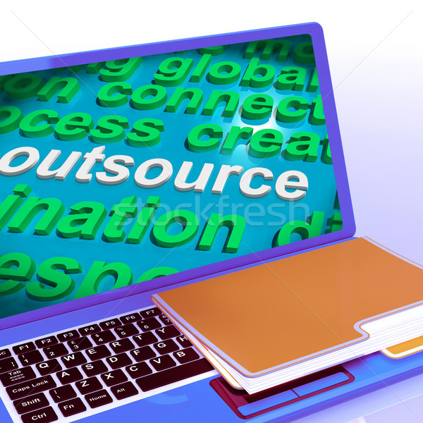 Outsource Word Cloud Laptop Shows Subcontract And Freelance Stock photo © stuartmiles
