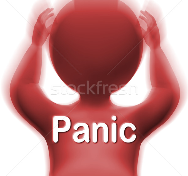 Panic Man Means Fear Worry Or Distress Stock photo © stuartmiles