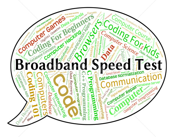 Broadband Speed Test Means World Wide Web And Assessment Stock photo © stuartmiles