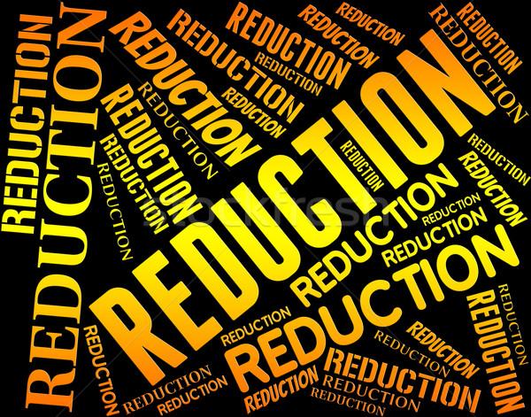 Reductie woord minder verkoop promo tonen Stockfoto © stuartmiles
