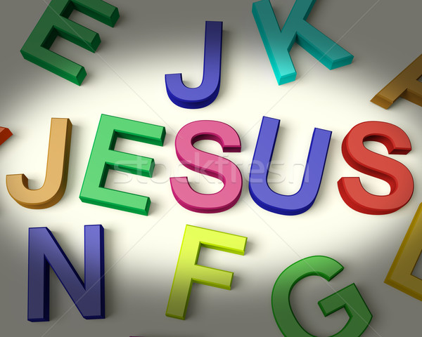 Jesus Written In Plastic Kids Letters Stock photo © stuartmiles