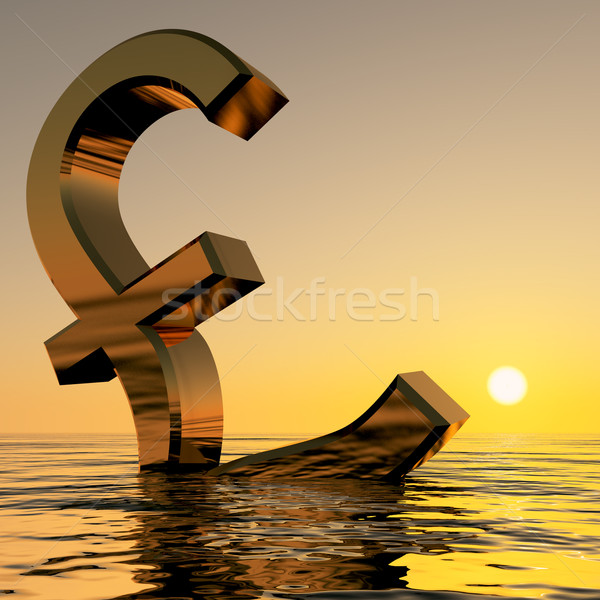 Pound Sinking In The Ocean Showing Depression Recession And Econ Stock photo © stuartmiles