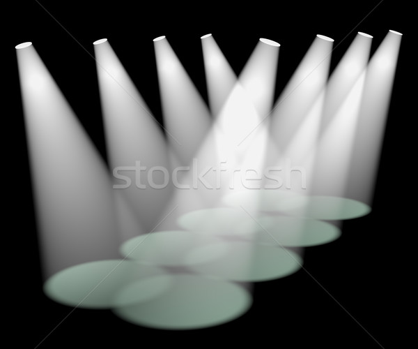Eight White Spotlights In A Row On Stage For Highlighting Produc Stock photo © stuartmiles