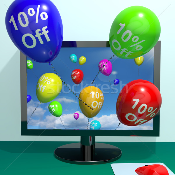 10% Off Balloons From Computer Showing Sale Discount Of Ten Perc Stock photo © stuartmiles