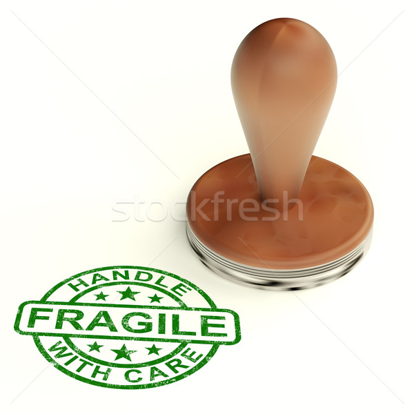 Wooden Fragile Stamp Shows Breakable Products For Delivery Stock photo © stuartmiles
