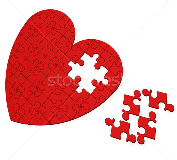 Unfinished Heart Puzzle Shows Valentine's Day Stock photo © stuartmiles