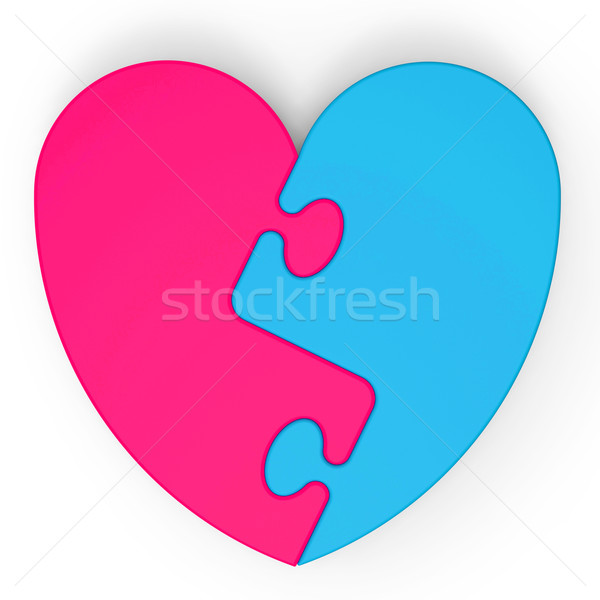 Two-Colored Heart Puzzle Shows Marriage Proposal Stock photo © stuartmiles