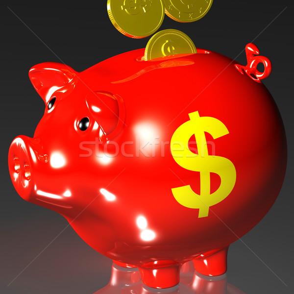 Coins Entering Piggybank Shows American Revenues Stock photo © stuartmiles