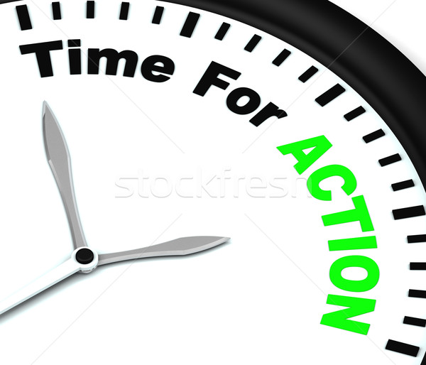 Time for Action Clock Means To Inspire And Motivate Stock photo © stuartmiles