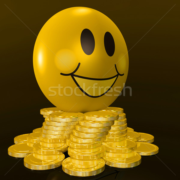 Smiley Face With Coins Shows Profitable Earnings Stock photo © stuartmiles