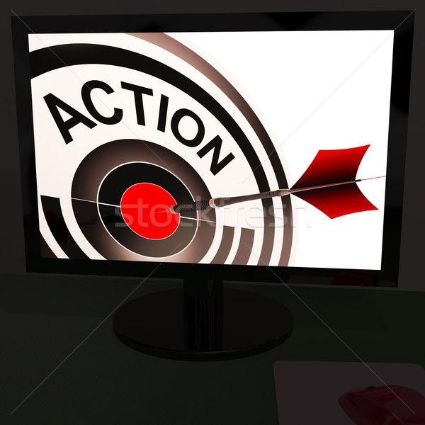 Action On Monitor Showing Acting Stock photo © stuartmiles