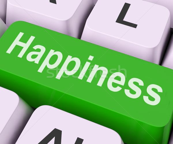 Szczęścia kluczowych radość radości klawiatury znaczenie Zdjęcia stock © stuartmiles