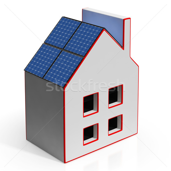 House With Solar Panels Shows Renewable Energy Stock photo © stuartmiles