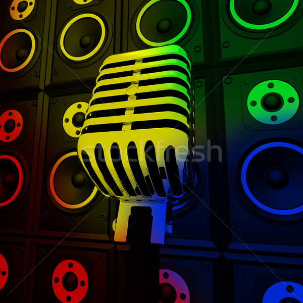 Microphone And Loud Speakers Shows Performance Concert Or Entert Stock photo © stuartmiles