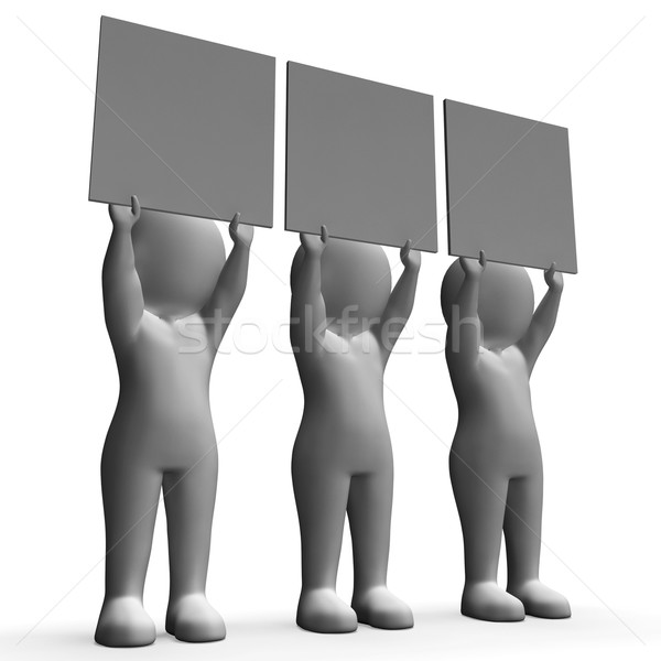 Characters With Three Blank Boards Allow Message Or Text Stock photo © stuartmiles