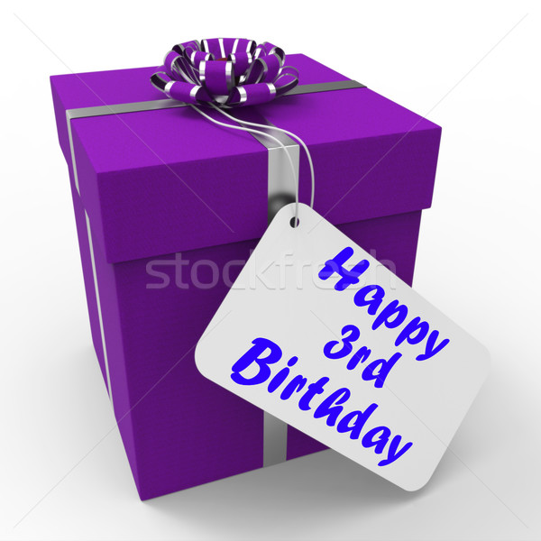 Happy 3rd Birthday Gift Means Congratulations On Three Years Stock photo © stuartmiles
