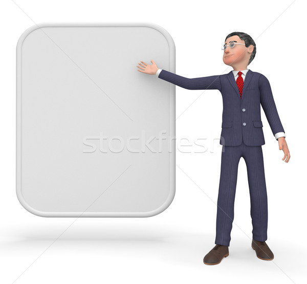 Businessman With Sign Indicates Blank Space And Biz Stock photo © stuartmiles
