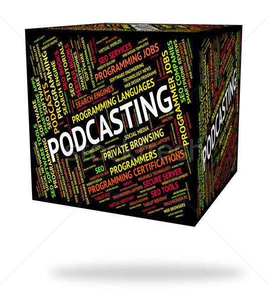 Podcasting mot diffusion diffuser audio téléchargement Photo stock © stuartmiles