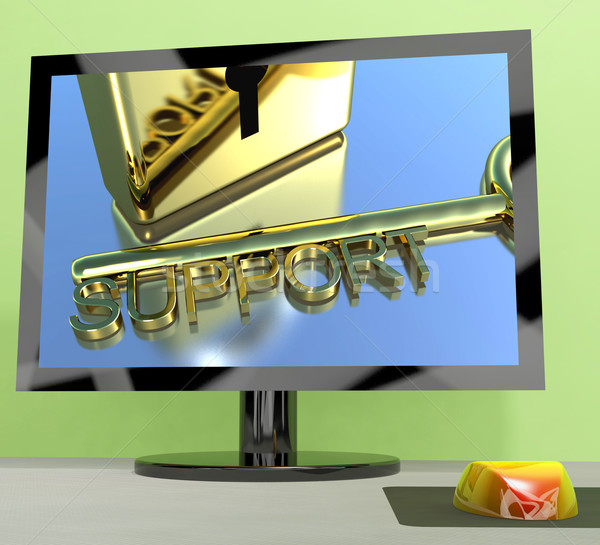 Support Key On Computer Screen Showing Online Help Stock photo © stuartmiles