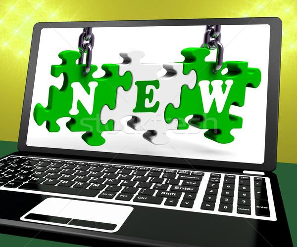 Yeni dizüstü bilgisayar Internet web çevrimiçi ürün Stok fotoğraf © stuartmiles