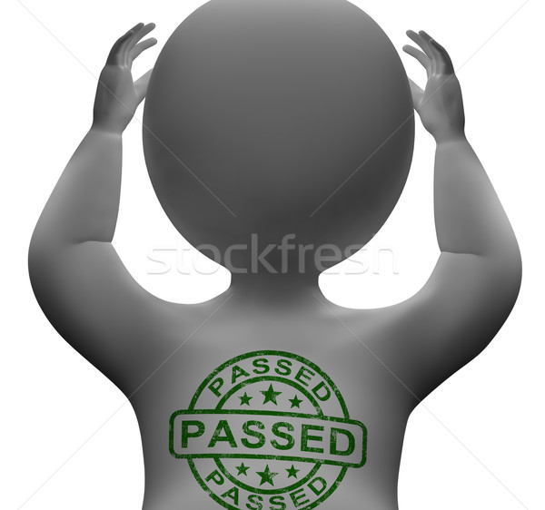 Passed Stamp On man Showing Quality Control Approved Stock photo © stuartmiles