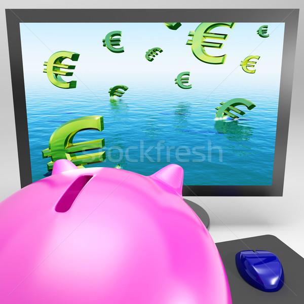 Euro Symbols Drowning On Monitor Shows European Depression Stock photo © stuartmiles