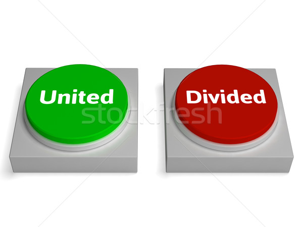 United Divided Buttons Show Unite Or Divide Stock photo © stuartmiles
