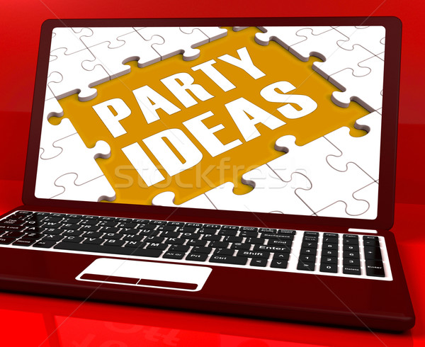 Party Ideas Laptop Shows Celebration Planning Suggestions Stock photo © stuartmiles
