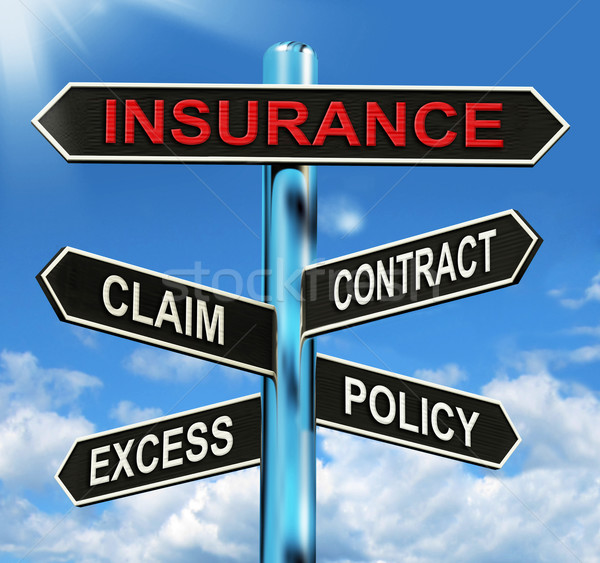 Insurance Signpost Mean Claim Excess Contract And Policy Stock photo © stuartmiles