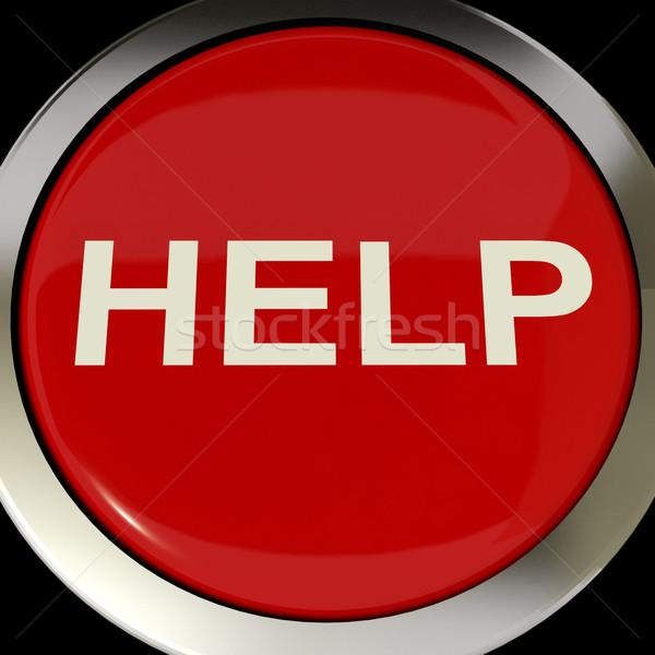 Helpen knop steun hulp antwoorden tonen Stockfoto © stuartmiles