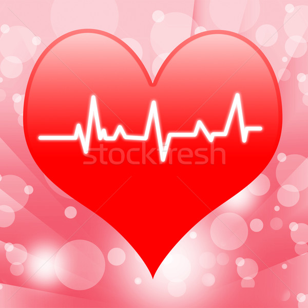 Electro On Heart Shows Beating Heart Or Heartbeat Stock photo © stuartmiles