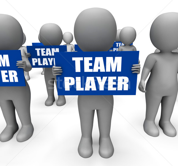 Characters Holding Team Player Signs Show Teamwork Or Teammate Stock photo © stuartmiles