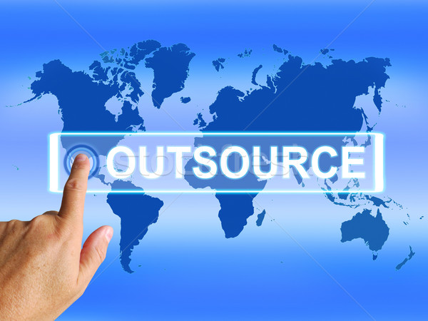 Outsource Map Means Worldwide Subcontracting or Outsourcing Stock photo © stuartmiles