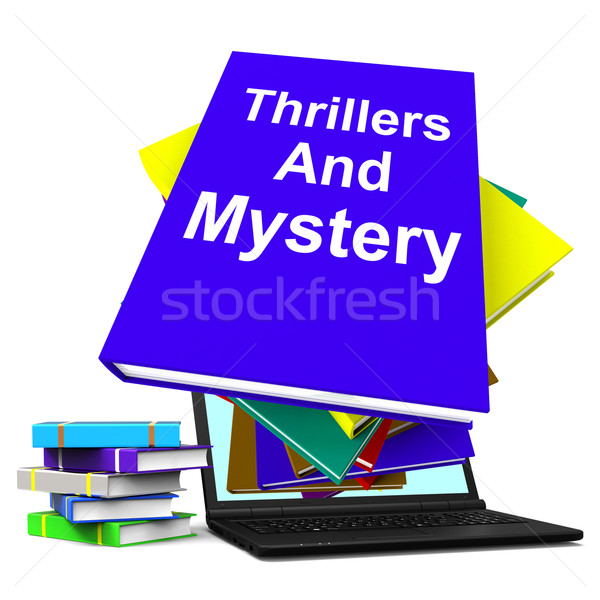 Thrillers and Mystery Book Laptop Shows Genre Fiction Books Stock photo © stuartmiles