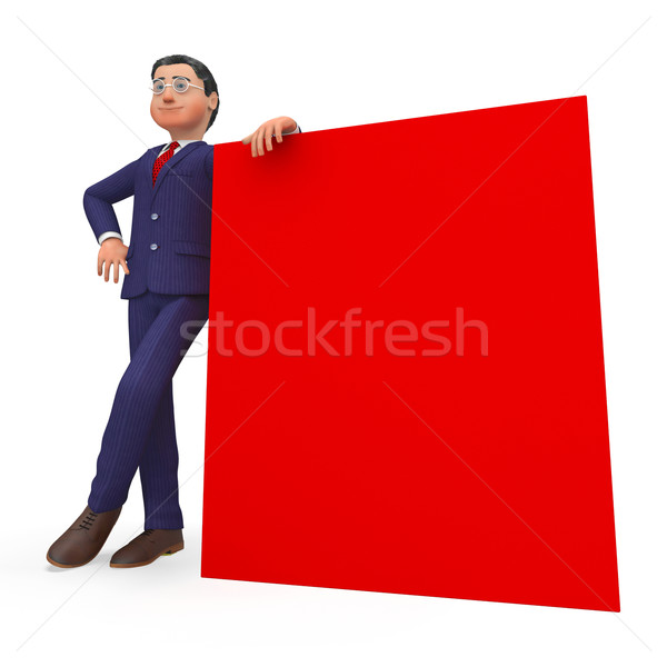 Businessman Beside Signboard Shows Blank Space And Biz Stock photo © stuartmiles
