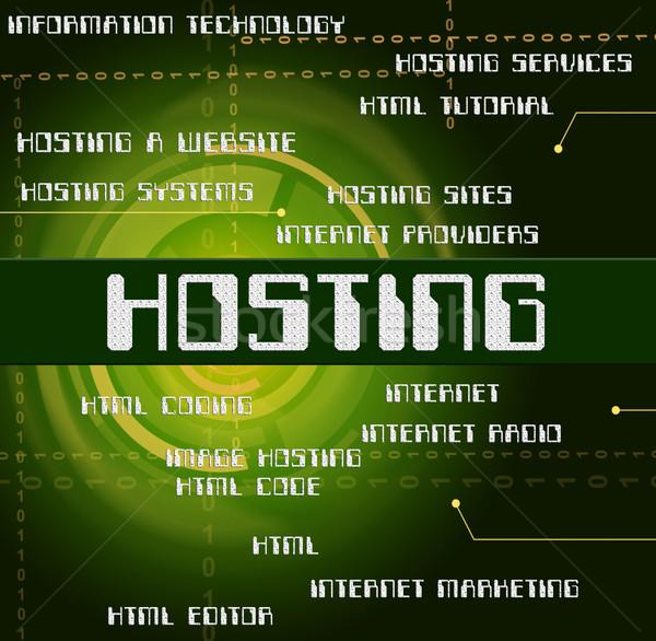 Hosting szó online web szerver mutat háló Stock fotó © stuartmiles