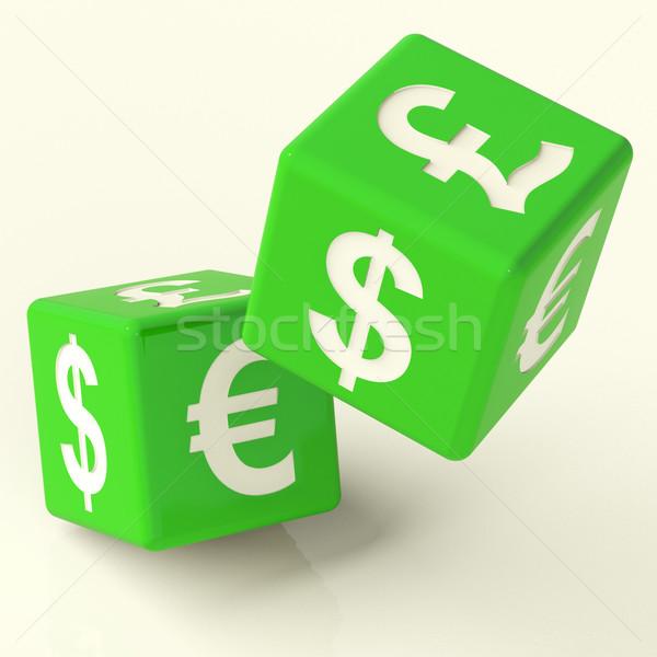 Valuta borden dobbelstenen symbool buitenlands uitwisseling Stockfoto © stuartmiles