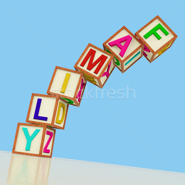 Kids Blocks Spelling Family Falling Over As Symbol for Problems  Stock photo © stuartmiles