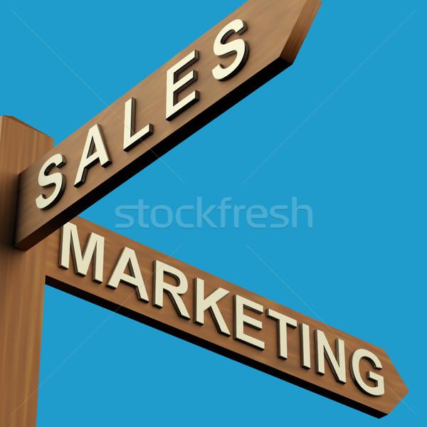 Ventas comercialización instrucciones poste indicador industria Foto stock © stuartmiles