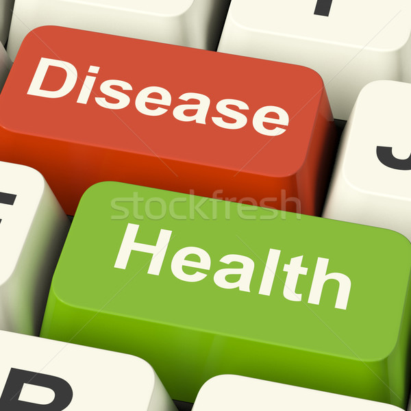 Disease And Health Computer Keys Showing Online Healthcare Or Tr Stock photo © stuartmiles