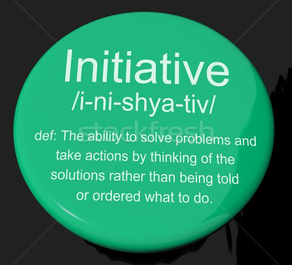 Initiatief definitie knop tonen leiderschap beheer Stockfoto © stuartmiles